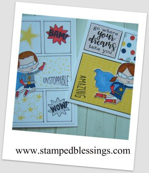 CTMH Super Boy and Super Girl | comic strip style card | get my tutorial for free by signing up for my newsletter!