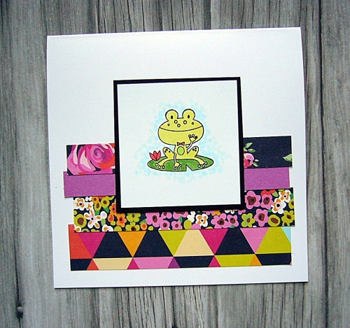 CTMH's Operation Smile stamp set - Punny Pals, CAS card, great layout for using up paper scraps