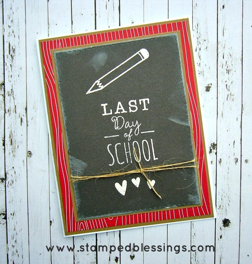 School Year - CTMH's September Stamp of the Month, STOM, chalkboard card, handmade teacher card