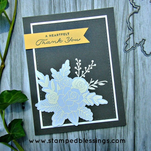 CTMH's Happy Heart and Hello Lovely, embossed vellum, handmade thank you card