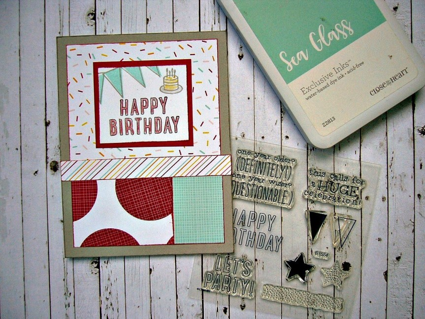 CTMH Workshops Your Way Let's Party cardmaking kit, Sugar Rush paper pack, Orignals how to idea book, masculine birthday card, rubber stamped cards, cardmaking ideas