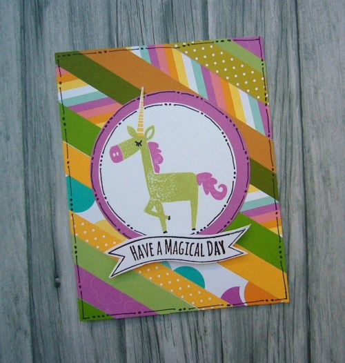 Little Dreamer cardmaking stamp set from CTMH, great card for using up paper scraps