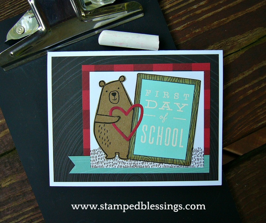 CTMH School Year Stamp of the Month and Jack for cardmaking. First Day of school card - also perfect for scrapbooking and memory keeping.