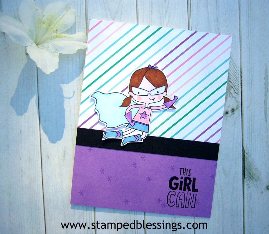 CTMH Super Girl stamp set combined with Make Waves paper pack