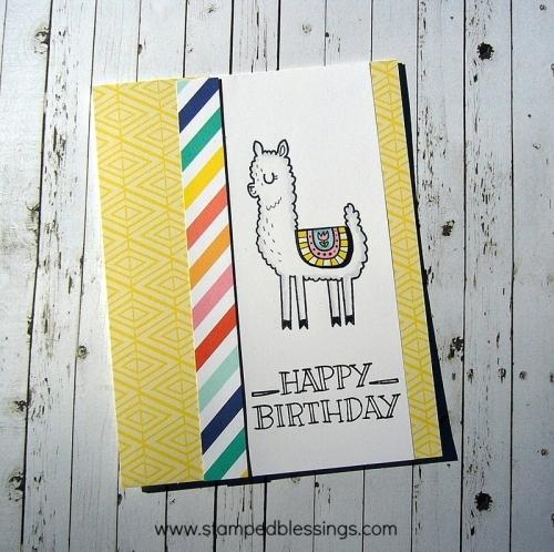 CTMH Prickly Pear cardmaking stamp set, llama stamp set, CAS card, Happy Birthday
