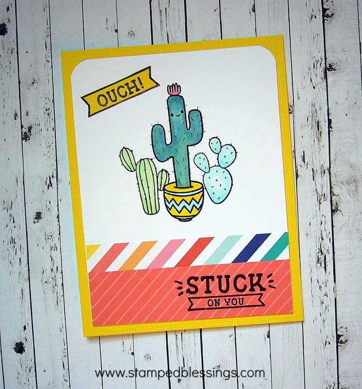 Prickly Pear cardmaking stamp set from CTMH, Stuck on You - ouch!