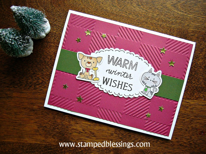CTMH Punny Pals and Joyful Tidings WYW stamp set | Buffalo Plaid embossing folder | pet lovers Christmas card