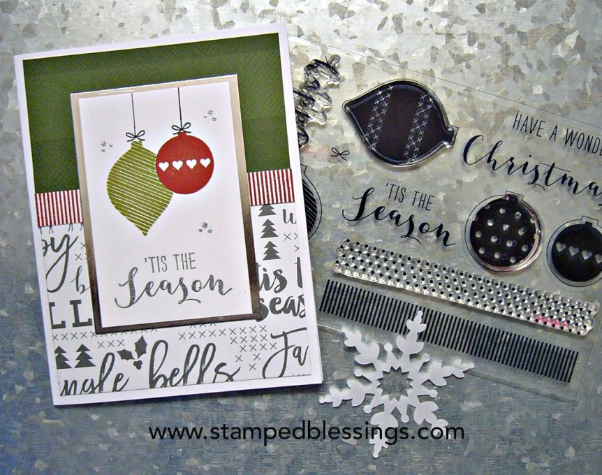 CTMH Silver and Gold cardmaking stamp set with Beary Christmas and Silver and Gold paper packs |  Quick and easy Christmas card | DIY