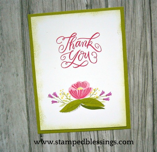 Sneak Peek of CTMH National Stamping Month celebration with From the Heart flower stamp set. All the Thanks is from Close To My Heart too! CAS card design. Two and three step stamping.